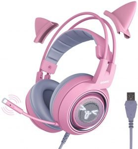 SOMIC G951pink Gaming Headset for PC, PS4, Laptop
